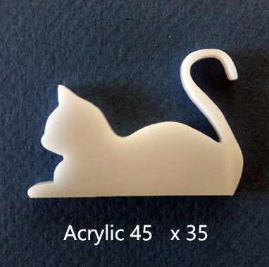 Flat cat White Acrylic  45 x 35. Pack of 5 .